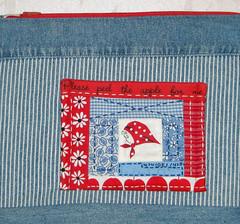 Red Kerchief Girl Pouch (elnorac) Tags: quilt logcabin block patchwork japanesefabric kerchiefgirl kumikofujita redkerchiefgirl