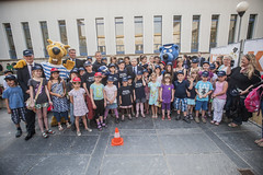 Children pose for a group shot at the Annual Summit in Leipzig