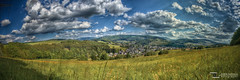 Nuttlar HDR-Panorama Mai 2012 (Dominik Hartmann) Tags: summer panorama tree clouds canon dorf village forrest sommer wiese wolken fields nrw wald baum hdr sauerland ostwig 550d bestwig nuttlar