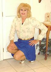Blue Skirt (bobbievnc) Tags: tv highheels legs cd skirt blouse short tranny blonde pantyhose crossdresser nylons shemale shortskirt tightskirt tanpantyhose