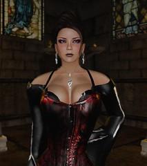 Sacred Heart (alexandriabrangwin) Tags: world windows red black church glass leather computer dark temple necklace 3d graphics shiny dress vampire stained secondlife virtual corset earrings lipstick ruby gown mistress wisp cgi updo edgy alexandriabrangwin