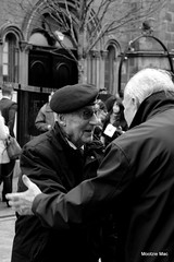Meeting old Commrades once again (mootzie) Tags: beret remembranceday monochrome black amd white commrades veterans aberdeen scotland