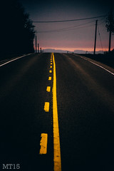 Follow The Yellow Lined Road (01/01/2015) (Matthew Trevithick Photography) Tags: 2015 january matthewtrevithick nikon nikond5300 ontario st marys stmarys road paint line yellowline roadpaint dark vibrant