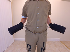 DJI_0107 (boblaly) Tags: inmate chain chained prison prisoner jumpsuit jail uniform waist cuffed cuffs chains convict locked secure shackles handcuffs handcuffed padlock shackled restraints restrained arrested arrest