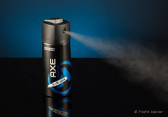 Spraying Deodorant (fugander) Tags: axe body spray bodyspray shower deo deodorant black blue plexi glass action hygien product phottix odin canon speedlite commercial reflection gradient