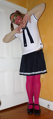 Japanese School Uniform with Pink Tights (Christie Jane) Tags: schoolgirl maryjanes dress hosiery pantyhose tights opaquetights stockings trannie tranny transvestite transgender tv cd crossdressing tgirl tgurl gurl strapshoes sissy tg maryjaneshoes schooluniform schoolgurl crossdressingschoolgirl transvestiteschoolgirl hose xdressresser xdressing crossdress xdress crossdresser japaneseschooluniform japaneseschoolgurl pinktights pink mask femalemask skirt sailor