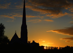 St Walburge's Church at dawn in Preston (Tony Worrall) Tags: preston north northwest lancs lancashire england northern uk update place location visit area county attraction open stream tour country welovethenorth unitedkingdom spire dawn sky glow glowing church tall stwalburges site city