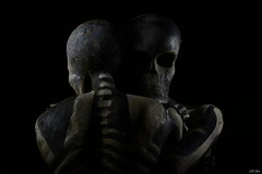 Embrac(Ed) (LED Eddie) Tags: skeletons bones skull night spooky handlit longexposure lededdie lightartist nocturnalphotographer freaky embrace sinister nikon prime 50mm sculpture haunting