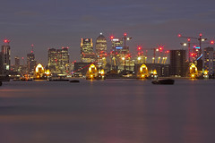 Venendo dal mare / Coming from the sea (Canary Wharf and Thames barrier from Woolwich, London, United Kingdom) (AndreaPucci) Tags: thames barrier woolwich london uk canarywharf o2arena andreapucci canoneos60