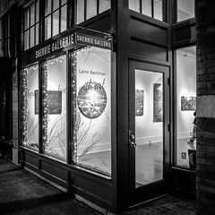 Outside, Looking In (tim.perdue) Tags: outside looking sherrie gallery art short north arts district high street columbus ohio black white bw monochrome iphone instagram mobile iphoneography square glass windows door paintings exhibition show laine bachman second nature