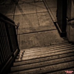 Surrealistic Dream (MBates Foto) Tags: filmnoir streetscenes street monochrome sepiatone surreal availablelight existinglight dreamy nikon nikond810 nikkor24120mm spokane washington easternwashington pacificnorthwest stairway stairs outdoors unitedstates 99201