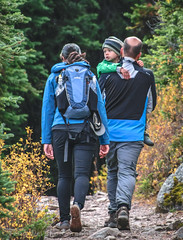 Autumn Hike in Rocky Mountains, Banff National Park, Canada (Feng Wei Photography) Tags: banffnationalpark hike family landscape unesco vertical saddlebackpass alberta trail scenery canada hiker fall rockymountains autumn ca northamerica colorimage