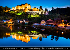 Czech Republic - esk ternberk Castle at Dusk - Twilight - Blue Hour - Night ( Lucie Debelkova / www.luciedebelkova.com) Tags: eskternberk castle bohemia czechrepublic czech eskrepublika esko ceska republika cesko czechoslovakia ceskoslovensko country europe centraleurope europeanunion eu rock rocky world exploration trip vacation holiday place destination location journey tour touring tourism tourist travel traveling visit visiting wwwluciedebelkovacom luciedebelkova luciedebelkovaphotography outdoor nature landscape water waterscape