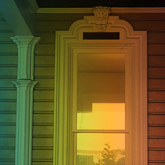 victorian porch fx (msdonnalee) Tags: windowreflection windowframe window janela fenster fentre finestra ventana porch digitaleffects colorfx victorianarchitecture architecturaldetail