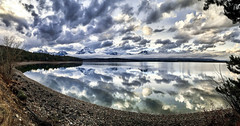 Reflections on Jackson Lake, Grand Teton National Park (Cooke Photo) Tags: lake water reflections jacksonhole wyoming americanwest grandtetonnationalpark thetetons mountains trees clouds skies cloudyskies sunset nature nationalpark jacksonlake jacksonholewyoming