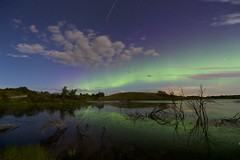 Summer Night at the pond (John Andersen (JPAndersen images)) Tags: airdrie alberta aurora clouds farm landscape night pond reflections stars tree