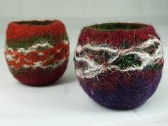 Xmas Felt Tealights 1 (Natasha Smart Textiles) Tags: handmade wetfelted uk bowl tealight candle norwegian wool fleece felt yarn christmas xmas 2016 red burgundy green