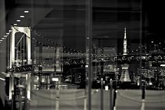 Fragments (Clint Koehler) Tags: urban japan night tokyo bay nikon asia tokyotower odaiba rainbowbridge 7020028 odaibaisland nikond700