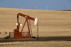 New and Traditional Energy Sources Alberta oil and wind, Canada (Marie-Marthe Gagnon) Tags: red canada field landscape energy wind machine pump oil prairies mpdquebec mariemarthegagnon