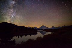 "Starry Autumn Night at Oxbow (IronRodArt - Royce Bair (""Star Shooter"")) Tags: park sky night river stars twilight nightscape bend dusk snake grand national grandtetons te"