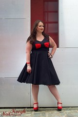 IMG_4513 (Neil Canon Keogh) Tags: red black vintage necklace highheels dress retro ring redhead bow buskers bracelet heels rockband pinup pinupgirl trianglesquare manchestercitycenter dressmodellaura