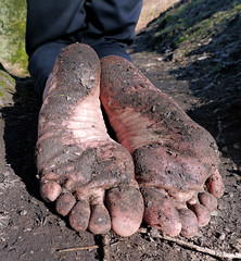 Earth covered soles (Barefoot Adventurer) Tags: nature forest woodland freedom earth barefoot barefeet connected soles barefooted barfuss barefooting dirtysoles barefoothiking barefooter baresoles muddysoles