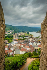 Bingen Germany and Rhein River viewed from the Castle Tower (mbell1975) Tags: from mist tower castle rain river germany deutschland europe day cloudy rainy german valley rhine rhein deutsch viewed bingen