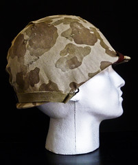 WW2 USMC M1 HELMET (nruebotham) Tags: robert japan usmc death islands us blood war pacific m1 helmet front eugene equipment cover camouflage strap ww2 restoration aged bale protection seam hbo chin solomon sledge guadalcanal relic swivel leckie pelelu