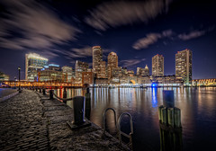 The Boston Harborwalk (Frank C. Grace (Trig Photography)) Tags: city blue sunset beautiful boston stone architecture night clouds buildings reflections ma lights harbor nikon unitedstates path walk massachusetts ships scenic newengland historic chain cobble cobblestone maritime glowing bluehour hdr goldenhour harborwalk to