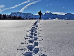 Snowshoeing Through Seiser Alm (alonzo.petrovich) Tags: winter sky snow mountains landscape hiking snowshoeing