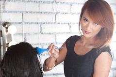 Looking good as i color hair (Lawrence Atienza) Tags: portrait people color girl beauty fashion female work hair studio happy person women head foil hairdo brush professional barber coloring hairdresser customer salon care dye hairstyle treatment caucasian stylist hairdressing occupation mybellacolorstudio