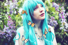 Pluie de Monarque (andreannelupien) Tags: summer plants plant flower girl forest butterfly insect skull cross teal makeup insects lila greeneyes curly monarch redlips curlyhair monarchs lilas tealhair