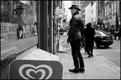 Berwick Street Cowboy (jonron239) Tags: man reflection london soho cowboyhat glance leatherjacket geezer thefullframe