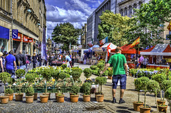 The Continental Market. (Th3 Highlander) Tags: street city people plants streets weather nikon day cloudy sheffield yorkshire markets sunny hdr southyorkshire d5100 nikond5100