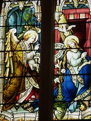 The Annunciation. (Glass Angel) Tags: angles stainedglass annunciation tewkesburyabbey johnhardmancoofbirmingham