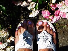 Zeigt her eure Fe...-  Show us your feet ... (ingrid eulenfan) Tags: flipflop garten fsse fus zehensteg