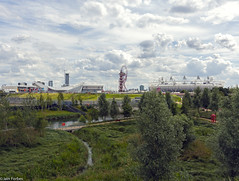 Olympic Park Overview (f0rbe5) Tags: uk greatbritain blue white green london clouds wetlands olympics day3 olympicstadium olympicpark stratford overview 2012 olympicgames london2012 aquaticscentre orbittower waterpoloarena xxxolympiad olympicparkoverview