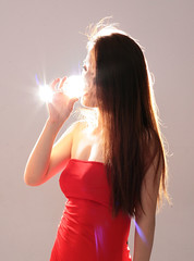Reflections (~ Lumi ~) Tags: china light reflection glass backlight canon model shanghai lensflare nsfw wineglass lumi reddress 30d asianmodel chinesemodel shootingparty lumi3005 chinamodel