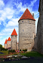 Towers' Square in the Old Town of Tallinn Estonia (TOTORORO.RORO) Tags: life street city travel houses light people color reflection brick tower tourism vertical wall architecture fairytale giant square lens mirror living iron europe tallinn estonia european day artistic spires sony gothic markets guard attack culture charm tourist medieval historic cobblestone translucent lamps alpha titan popular fortifications visitor 16th defensive picturesque oldtown 13th ambience f28 hdr slt ssm attractions lanes centuries lifestyles twisting traveldestinations a55 gabled 1650mm towerssquare sal1650 pwpartlycloudy