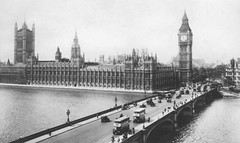 Westminster, London - Palace of Westminster & Westminster Bridge 1930s (oldsouthendian) Tags: westminster traffic ad housesofparliament bigben clocktower westminsterbridge palaceofwestminster adivision cannonrowpolicestation