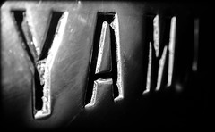 Yam. (CWhatPhotos) Tags: pictures camera light white black macro monochrome field bike metal closeup that logo photography mono us foto dof close image artistic bokeh pics picture engine pic olympus images case have photographs photograph fotos badge motorcycle yamaha custom setting microscope tough which 1979 depth contain metalic tg3 caseing 650cc cwhatphotos