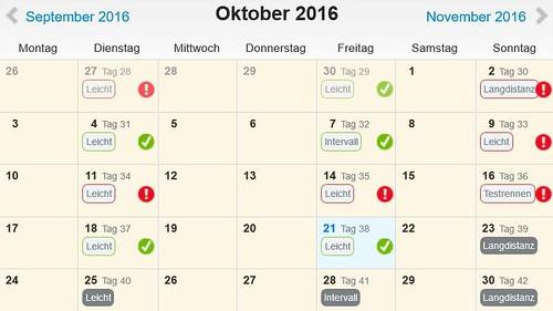 Trainingsplan Oktober 2016