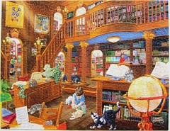The Library (Joseph Burgess) (Leonisha) Tags: puzzle jigsawpuzzle library bibliothek pets haustiere cats chats katzen