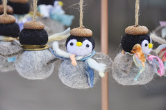 Penguin ornaments (noristudio3o) Tags: penguin ornament noristudio needle felted felting holiday baby scarf art yarn