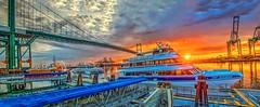 Catalina Express Panorama (Michael F. Nyiri) Tags: southerncalifornia catalinaexpress boats ships ocean sea harbor losangelesharbor vincentthomasbridge sunrise clouds