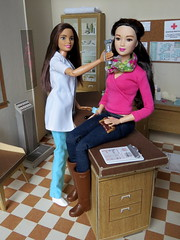 1. Annual Physical (Foxy Belle) Tags: doll barbie diorama medical doctor job dollhouse office littlechap dr 16 vintage made move bambi teresa pediatrician 2016 mold asian style 2015 miniature working