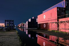 Container (RU333333chang) Tags: port longexposure ricohgr2 nightphoto waterfront container darkness reflection dockside