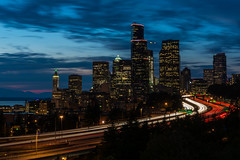 Seattle   |   Downtown Blue Hour (JB_1984) Tags: skyline cityscape view vista skyscraper tower motorway highway freeway interstate5 i5 traffic clouds movement motion blur lighttrails northbeaconhill seattle kingcounty washington wa usa unitedstates