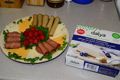 Vegan Meat & Cheese Tray and Daiya Cheezecake (Vegan Butterfly) Tags: vegetarian vegan food yummy tasty delicious party tray meat cheese tofurky slices meatless soy bacon yves earth island mozzarella cheddar lettuce raspberries berries daiya cheesecake nondairy cheezecake new york dessert lunch