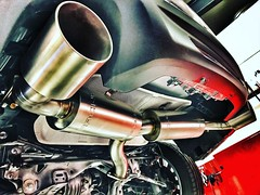 Showing you the probably most luxurious stainless steel exhaust system in the world for the Fiat and Abarth 124 Spider. This is made out of 1.4828 Stainless steel, all Hand made 101mm tail pipes and all made in Germany from the first to the last piece. So